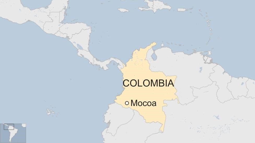 Map of Colombia showing Mocoa, where landslide killed dozens