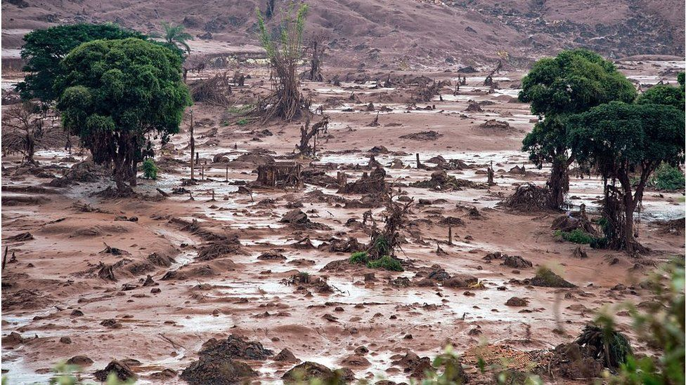 Aerial view of the Samarco dam disaster