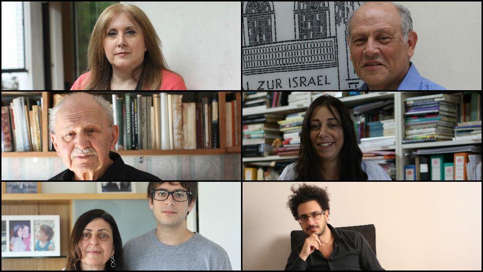 Argentina's Sephardic Jews from top left to bottom right: Ezequiel Siddig, Mario Cohen, Ricardo Halac, Patricia Benmergui, Julie Daye, Delia Sisro
