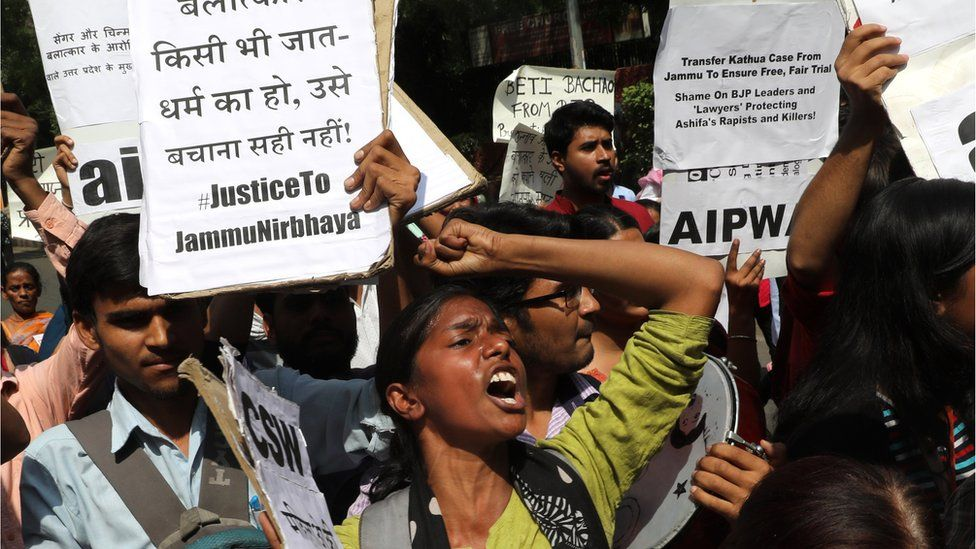 A woman reacts at a protest against the rape of an eight-year-old girl, in Kathua, near Jammu and a teenager in Unnao, Uttar Pradesh state, in New Delhi, India April 12, 2018.