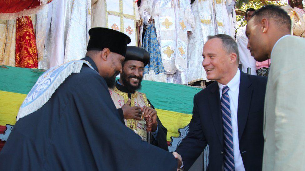 United States Ambassador to Ethiopia Michael Raynor meeting Ethiopian Orthodox Church clergy.