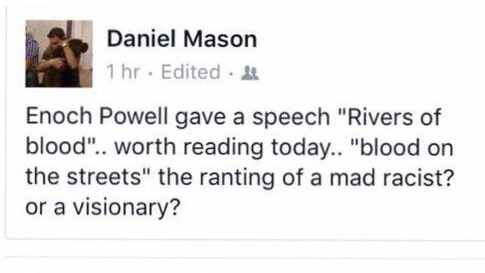 Daniel Mason Facebook post