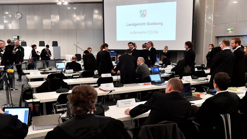 A general view during the trial at the conference hall in Duesseldorf