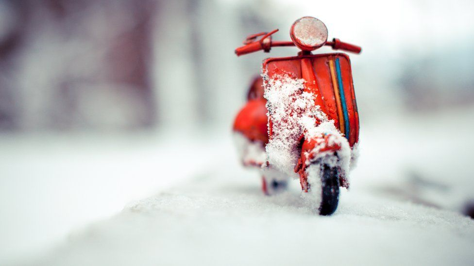 Red Vespa - Snow is here - Solothurn Switzerland - November 2012