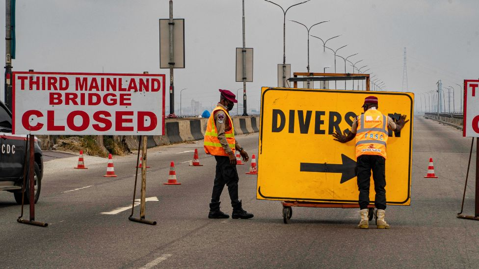 A diversion sign on the Third Mainland Bridge, Lagos, Nigeria