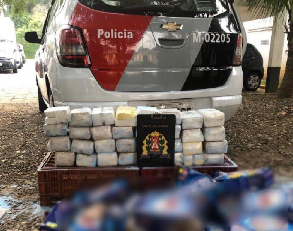 A picture of the cocaine haul tweeted by Sao Paulo police