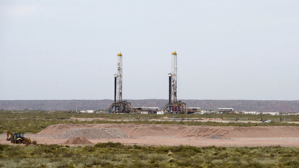 View of oil drilling rigs at Vaca Muerta Shale oil reservoir in Loma Campana, in the Patagonian province of Neuquen, some 1180 Km south-west of Buenos Aires, Argentina on December 4, 2014.