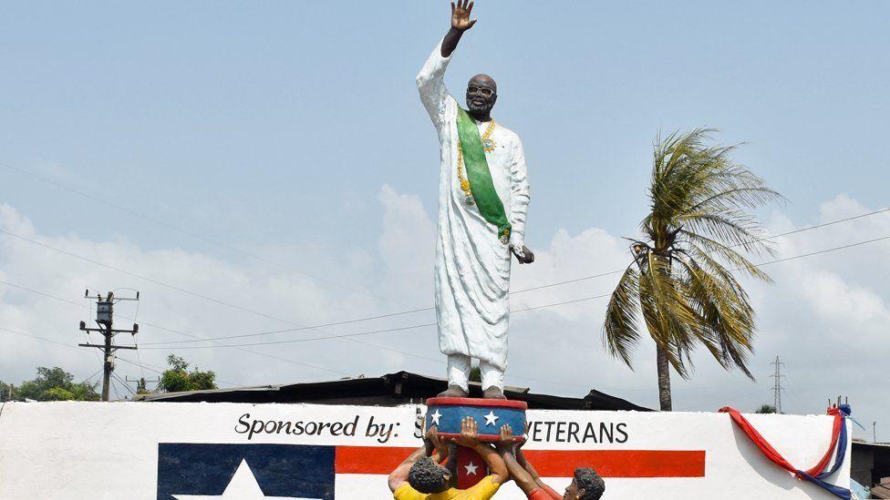 A statue of George Weah in Clara Town, Monrovia, Liberia