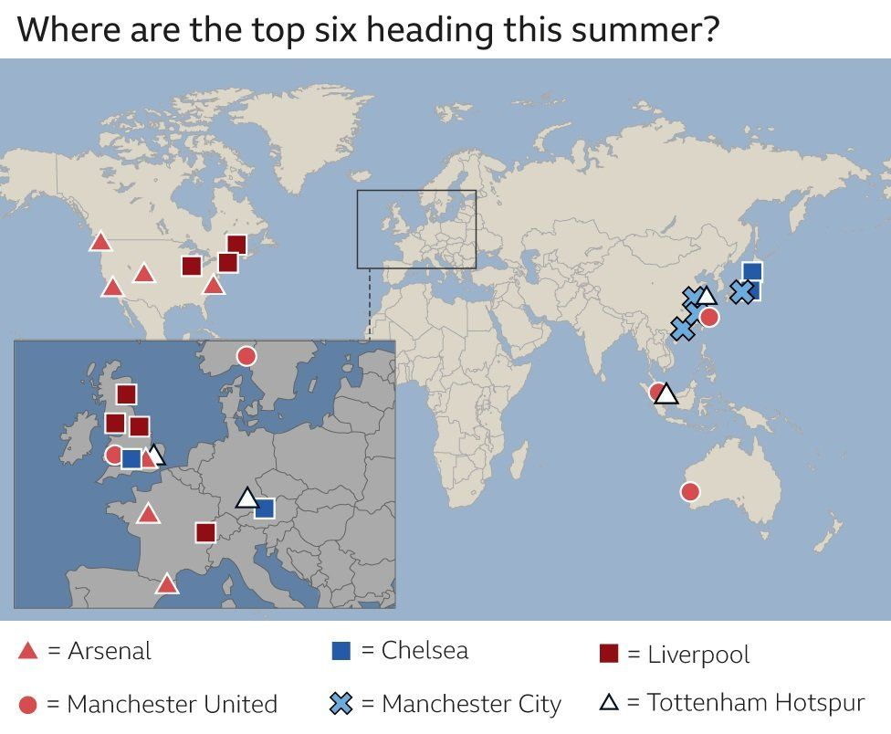 Premier League pre-season fixtures: Where's your club