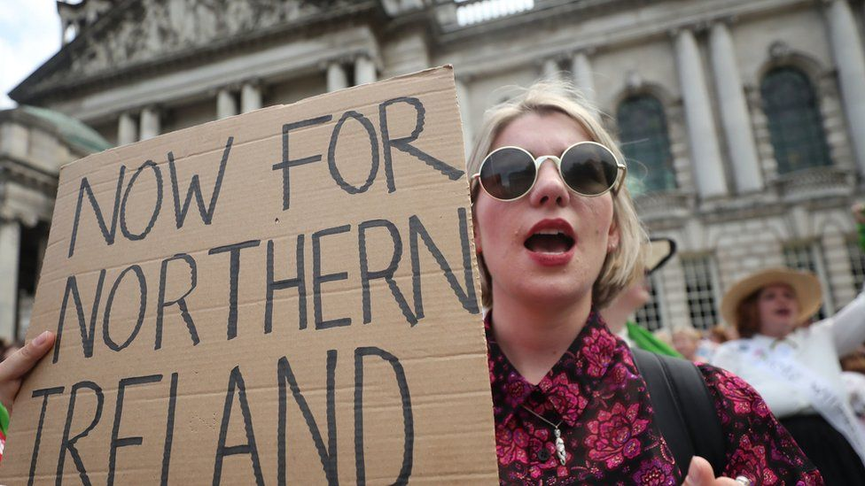 A woman calling for abortion reform in Northern Ireland