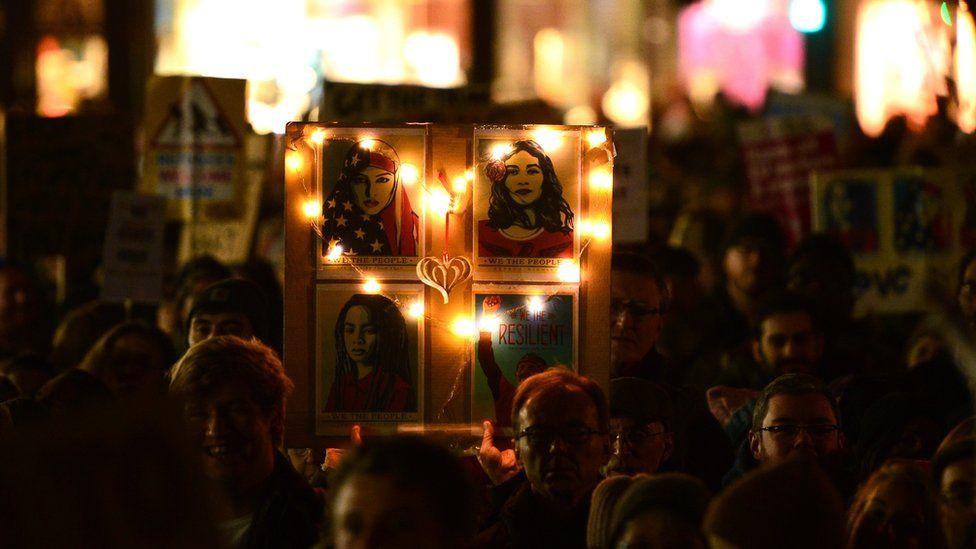 Protesters at the Trump travel ban demo in Edinburgh