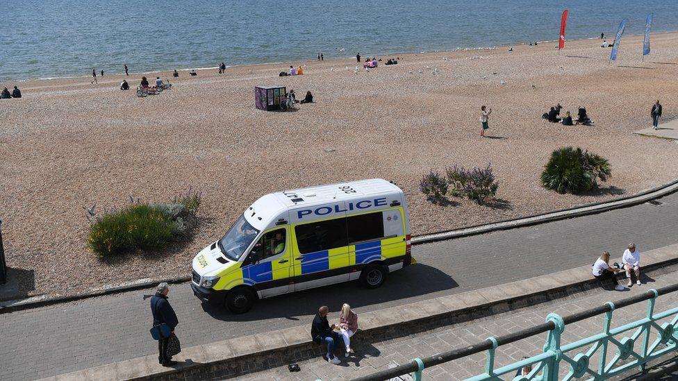 A police van on Brighton beach
