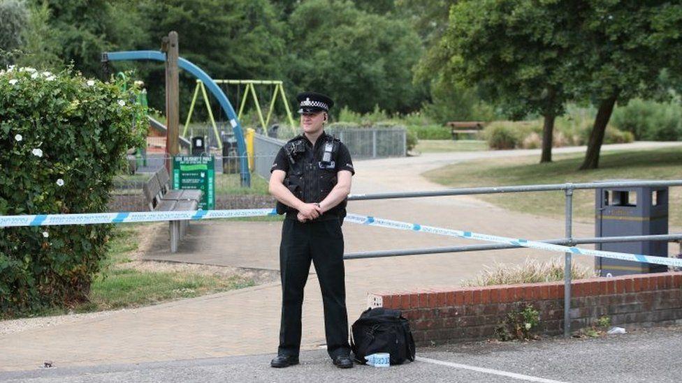 Police cordon at Queen Elizabeth Gardens