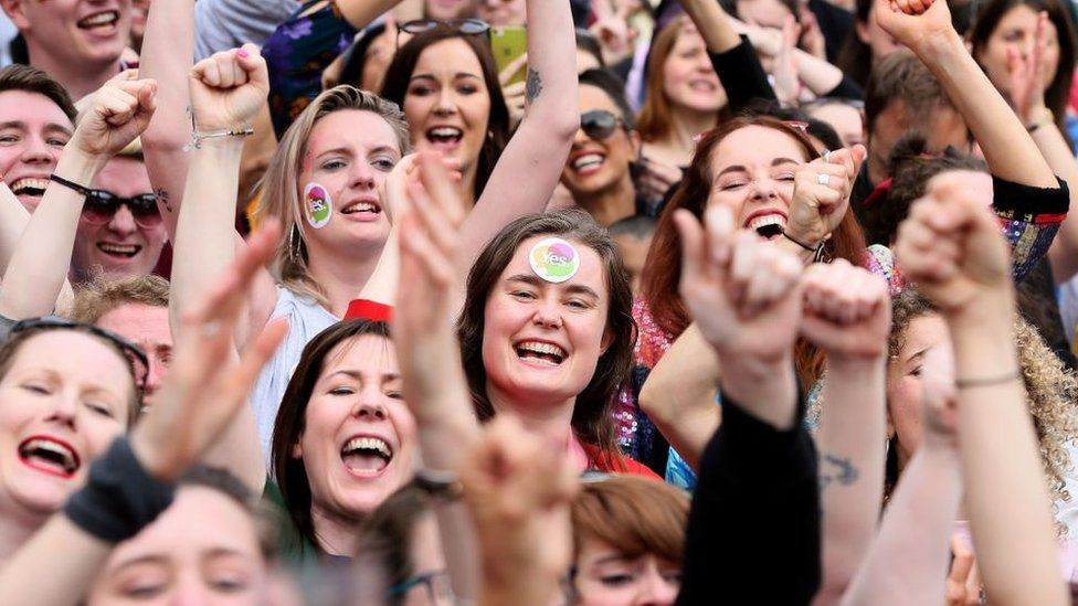 Yes campaigners react in Ireland's abortion referendum