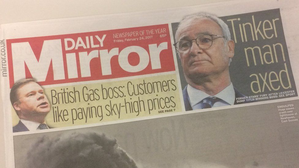 Front page of Daily Mirror