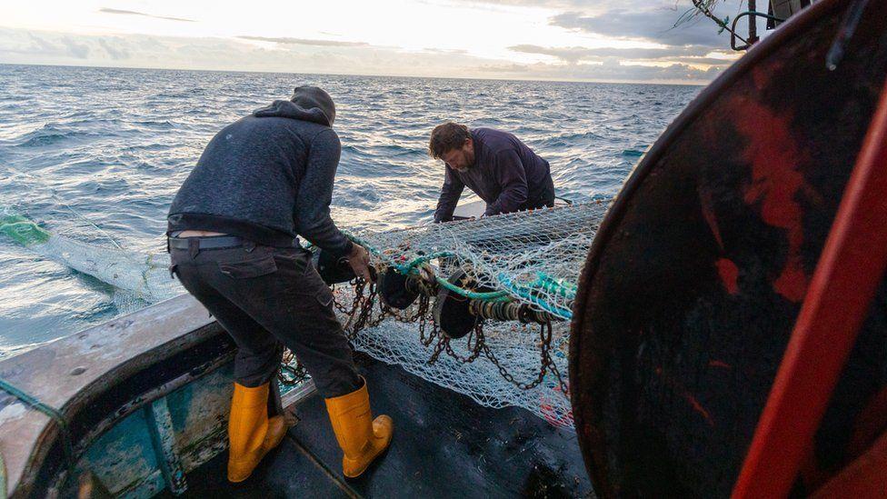 Fishermen taking in a catch