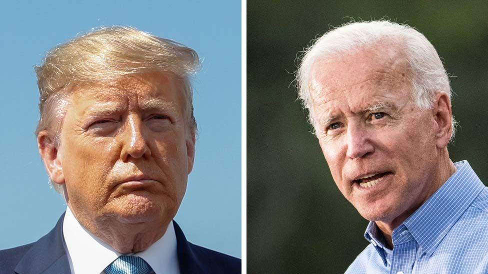 Split image: Donald Trump and Joe Biden