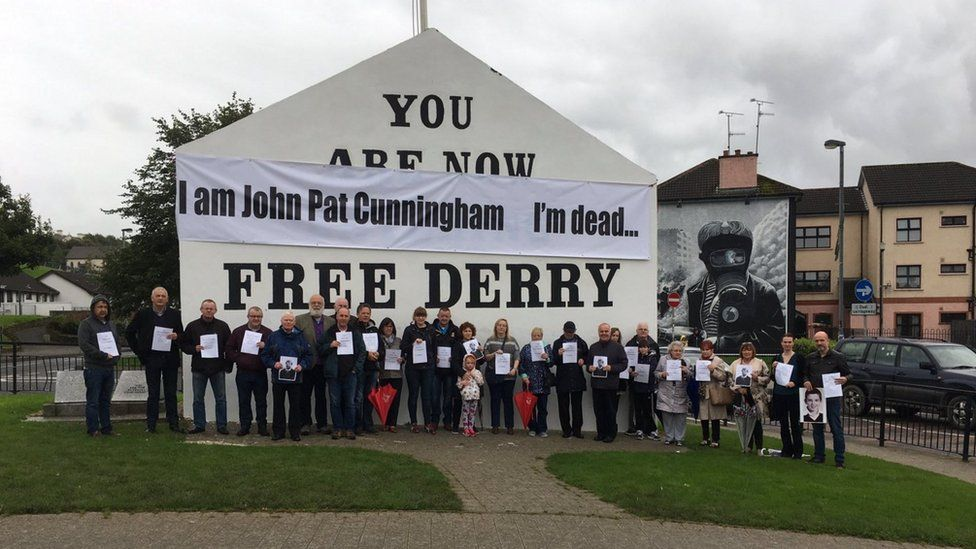 Mr Cunningham's supporters gathered in Derry and at other sites in Northern Ireland