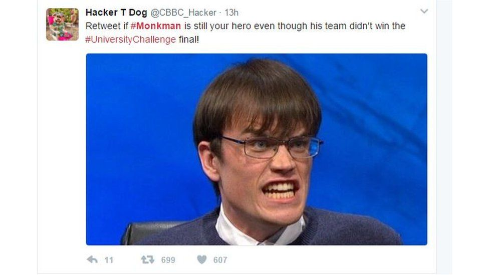 tweet reads: Monkman is still your hero even if his team didn't win the final