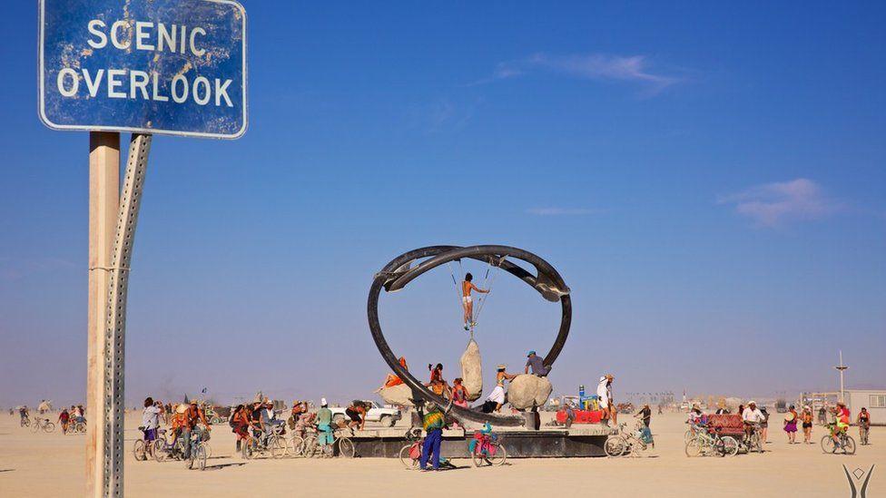 An installation at the Center Camp, Burning Man