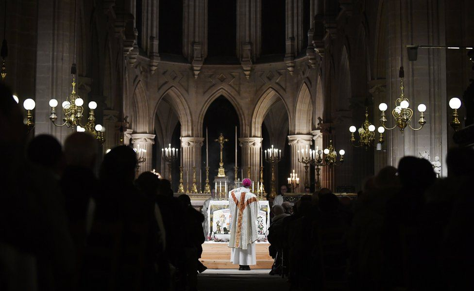 """midnight mass for Christmas at the Saint Germain l""""Auxerrois church in Paris, France, 25 December 2019"""