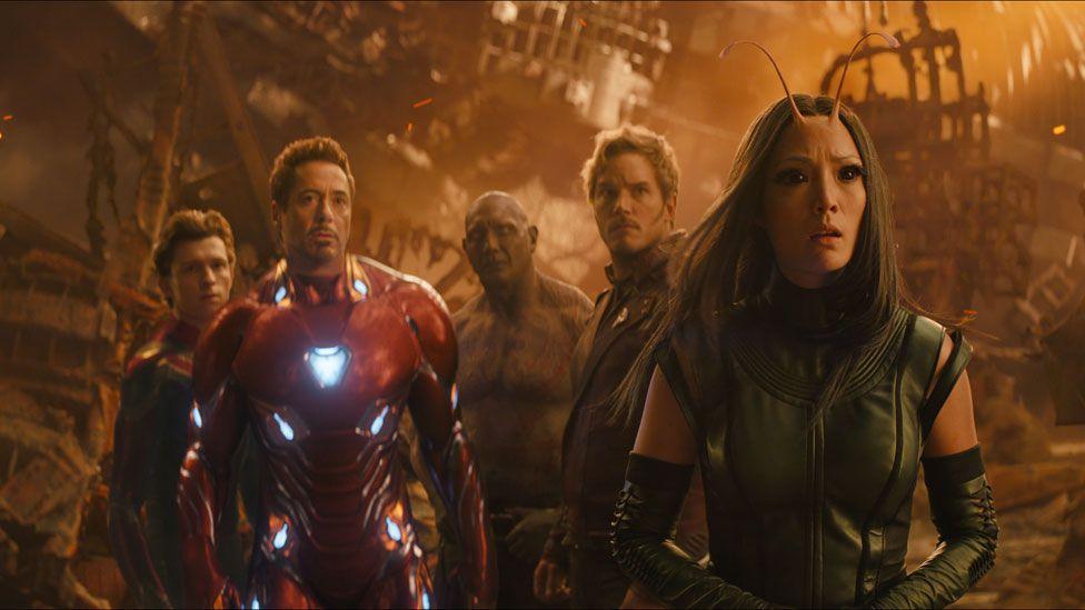 Tom Holland, Robert Downey Jr, Dave Bautista, Chris Pratt and Pom Klementieff in Avengers: Infinity War