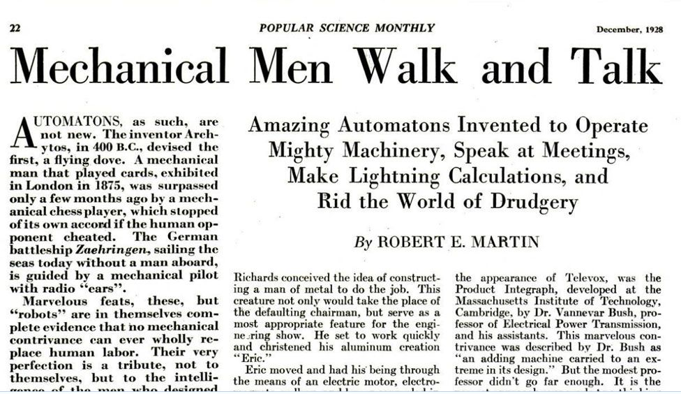 Headline from Popular Science Monthly, 1928: 'Mechanical Men Walk and Talk'