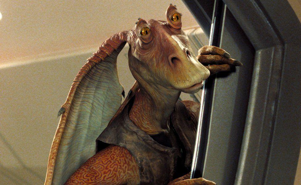 A picture of the big-eared orange alien Jar Jar Binks from the Star Wars prequel films