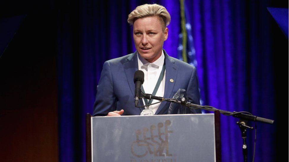 Abby Wambach speaks onstage at a charity event, September 2017