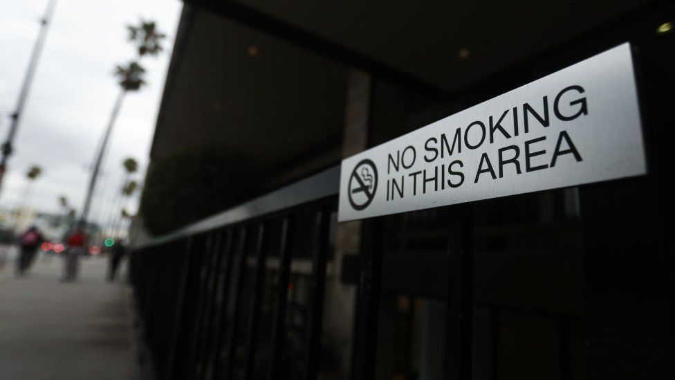 A 'No Smoking' sign is seen outside of a business on Wilshire Boulevard on May 10, 2019 in Beverly Hills, California