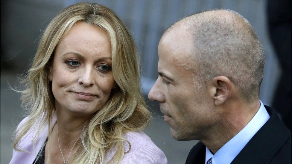Stormy Daniels (Stephanie Clifford) speaks to the press, as her attorney Michael Avenatti looks on, outside of federal court in New York City, New York, USA, 16 April 2018
