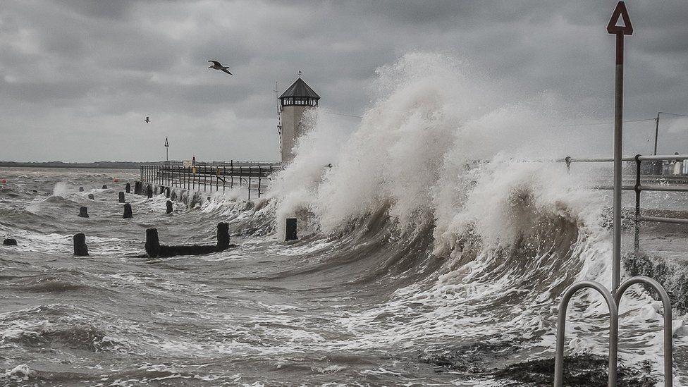 Waves crashing due to storm Francis at Brightlingsea, Essex