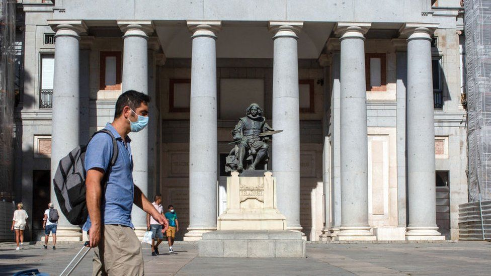 The Velazquez monument in front of the main entrance to the Prado Museum on the Paseo del Prado in Madrid