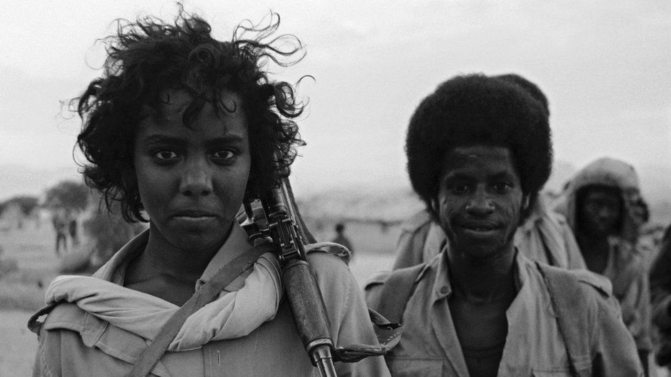EPLF (Eritrean People's Liberation Front) fighters in Eritrea, in north-east Africa, during the Eritrean War of Independence, 5th December 1989.