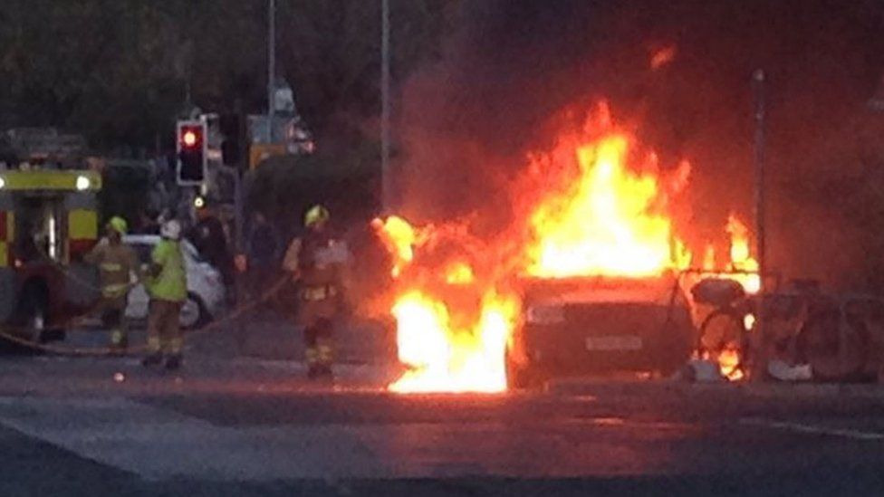 Taxi on fire