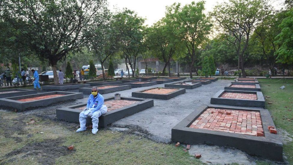 Platforms being built outside the Sarai Kale Khan crematorium