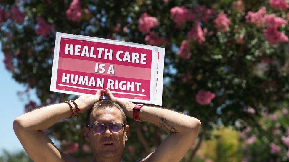 US healthcare protester