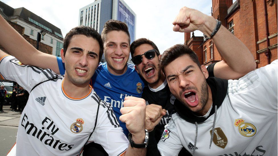 Real Madrid fans in Cardiff ready for the match