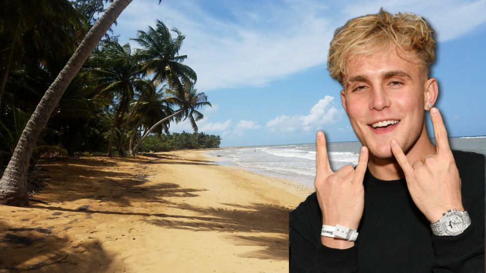 Composite of beach in Puerto Rico and Jake Paul