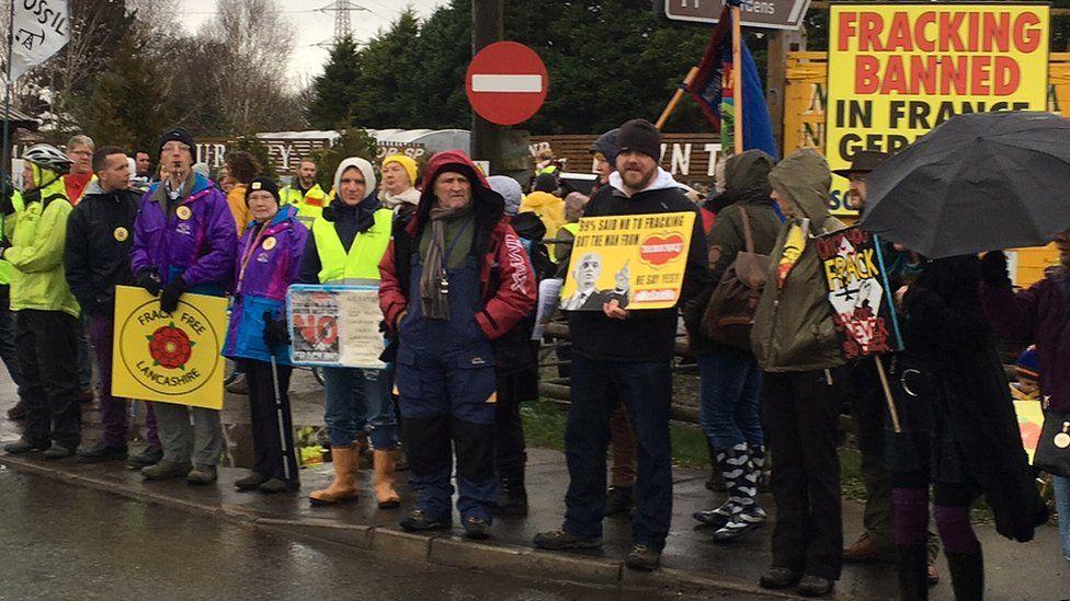 demonstrators at fracking rally