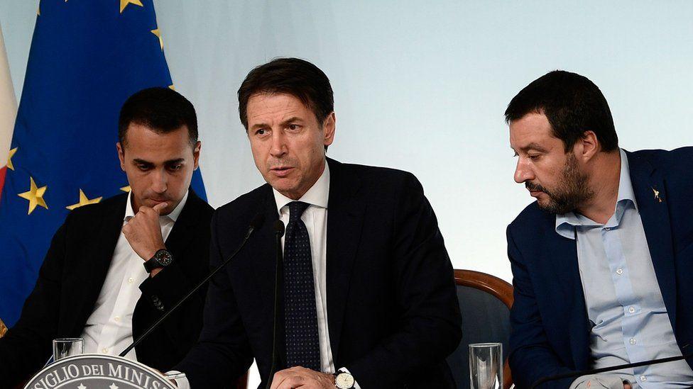 File photo: Italy's Deputy Prime Minister Luigi Di Maio, Prime Minister Giuseppe Conte, and Deputy Prime Minister Matteo Salvini, all confer during a press conference