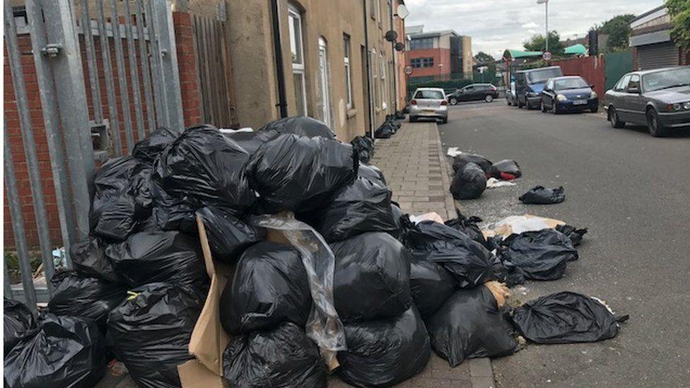 Bins piled up on Avon Street, Sparkhill