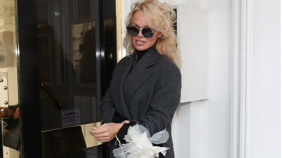 Pamela Anderson at the Ecuadorean Embassy