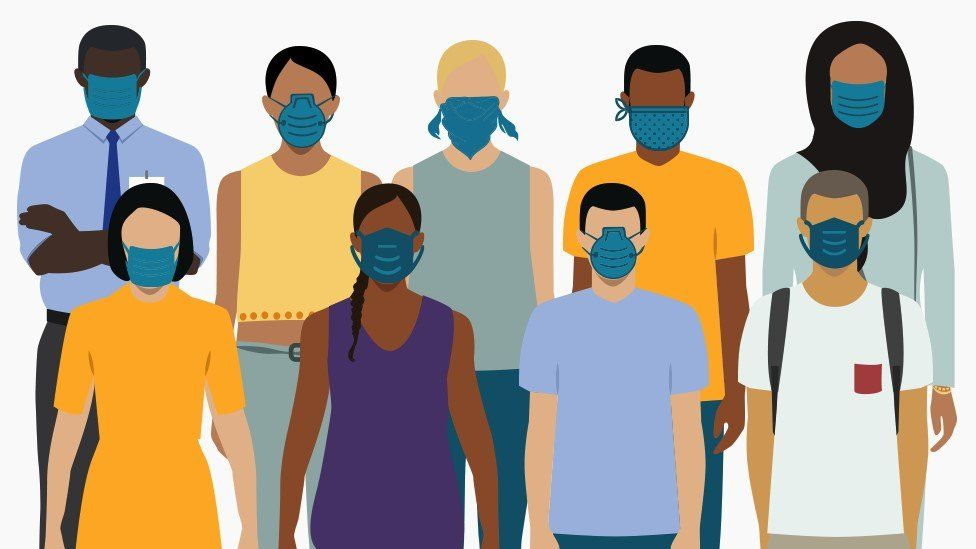 Images of people wearing masks