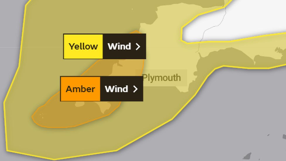 Graphic shows yellow and amber wind warnings over Devon and Cornwall