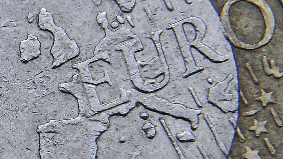 Detail of European map seen on euro coin