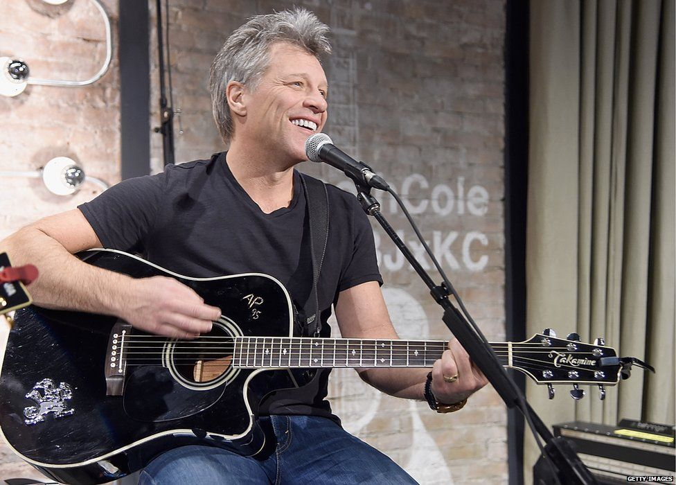 Jon Bon Jovi performs at the Jon Bon Jovi & Kenneth Cole Curated Acoustic Concert - Mercedes-Benz Fashion Week Fall 2015 on 12 February 2015 in New York City