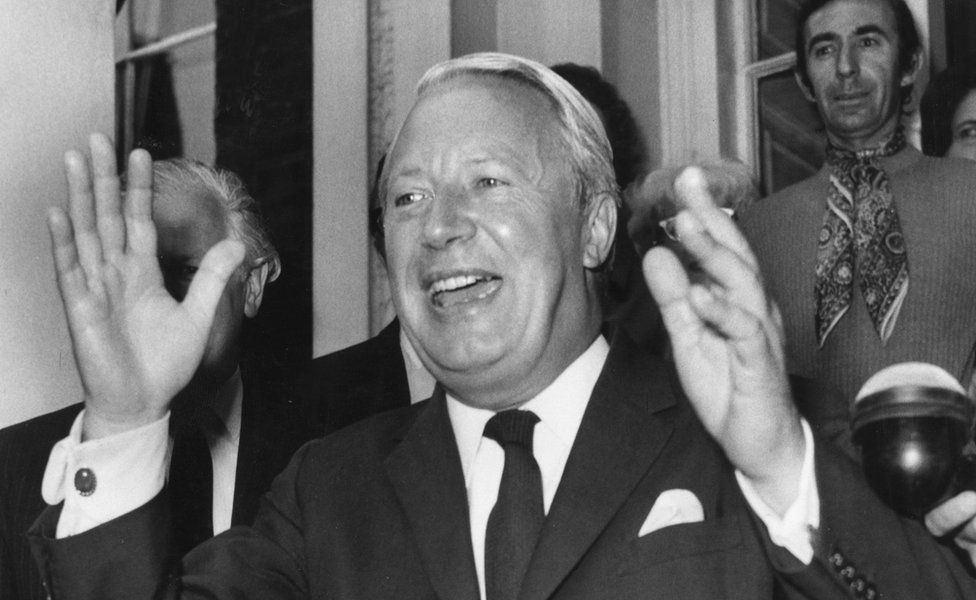 Ted Heath celebrates his 1970 election win