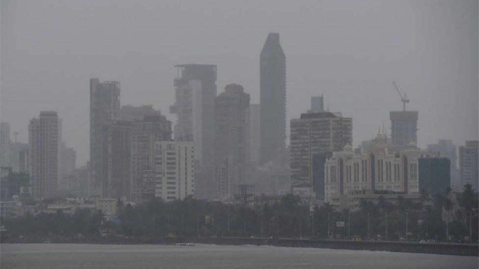 "General view of Mumbai on June 3, 2020 as cyclone Nisarga barrels towards India""s western coast"