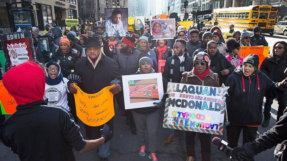 Protesters march in Chicago after the city released dashcam footage showing Laquan McDonald's death.